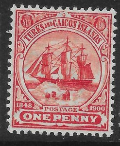 TURKS & CAICOS ISLANDS SG111 1905 1d RED MTD MINT