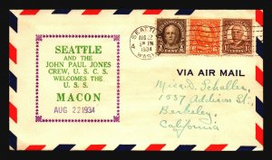 USS Macon 1934 Seattle & John Paul Jones USCS Cachet / 8.22.34 - Z18850