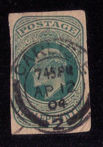 RARE - Edward VII Postal Stationary CUT OUT Carlisle Cancel Date Apr 12,1904