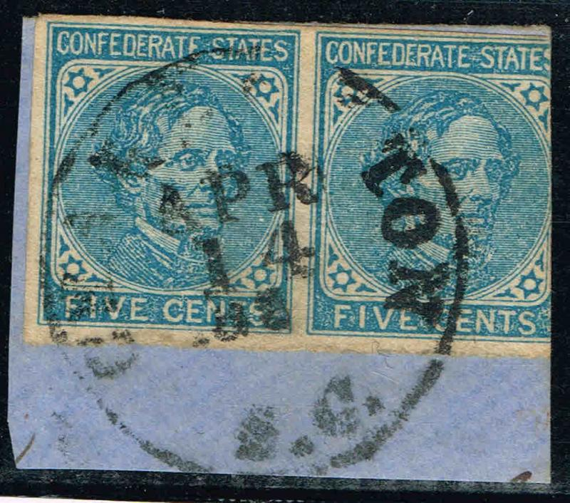 *CSA7 USED PAIR 1862 (JULY)  5c BLUE LOCAL PRINT CONFEDERATE STATES ISSUE