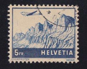 Switzerland   #C34  used 1941  plane over Churfirsten 5fr