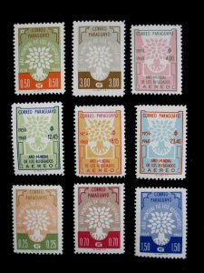 PARAGUAY - SCOTT# 560-564,C265-C268 - CS - MNH - CAT VAL $9.90