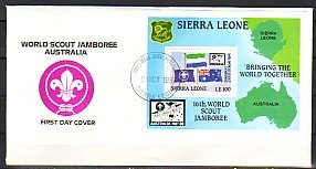Sierra Leone, Scott cat. 928. Australian Jamboree s/sheet. First Day Cover. ^