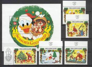 Turks Caicos 645-50 MNH Disney/Christmas SCV15.15
