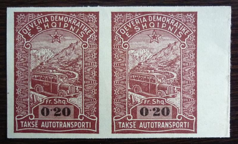 ALBANIA-REVENUE STAMPS-PROOFS (PAIR) RR! albanien italy usa russia J2