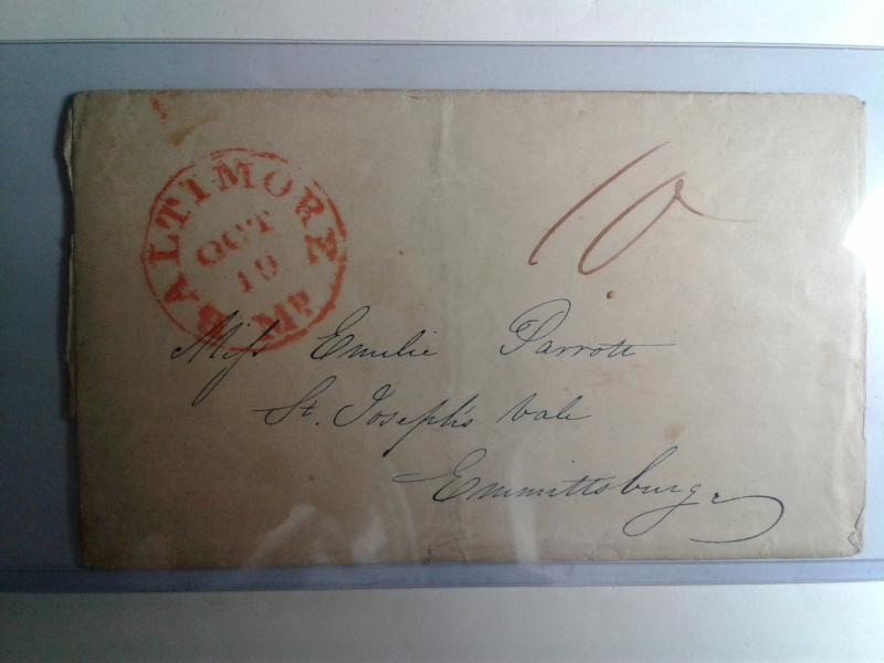 STAMPLESS FOLDED LETTER W/ RED CANCEL AMERICAN POSTAL HISTORY 1840