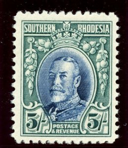 Southern Rhodesia 1933 KGV 5s blue & blue-green MLH. SG 27. Sc 30