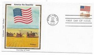US 1890 18c Flag & Waves of Grain on FDC Colorano Silk Cachet ECV $12.50