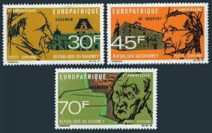 Dahomey C74-C76,MNH.Michel 349-351. R.Schuman,A.de Gasperi,K.Adenauer,1968.