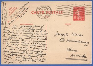 FRANCE 1930 90c Semeuse used postal card, PARIS > Vienna, Austria