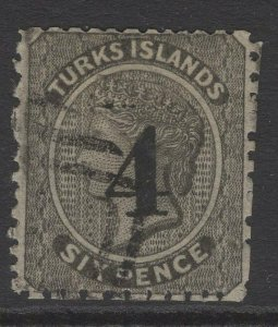 TURKS ISLANDS SG42 1881 4 on 6d BLACK 4 8mm HIGH POINTED TOP USED