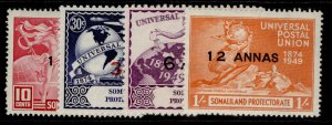 SOMALILAND PROTECTORATE GVI SG121-124, anniversary of UPU set, NH MINT.