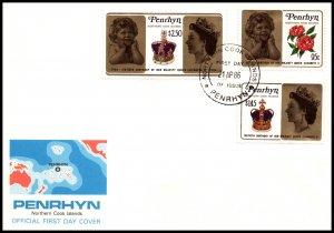 Penrhyn Island 337-339 Queen Elizabeth II U/A FDC