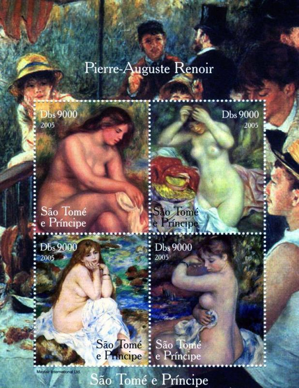 Sao Tome & Principe 2005 Auguste Renoir NUDES Paintings Sheet Perforated mnh.vf