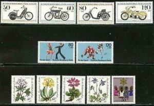 GERMANY BERLIN Sc#9NB198-9NB208 1983 Four Complete SP Sets OG Mint NH