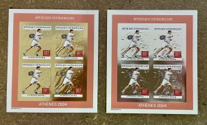 Stamps Minisheets Olympic Games Tennis Athénes 2004 Central Africa Imperf.