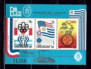 Uruguay C418a MNH 1975 Olympics and UPU S/S