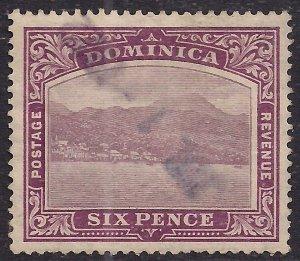 Dominica 1908 – 21 KEV11 6d Purple Used SG 52 ( F893 )