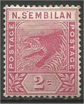 NEGRI SEMBILAN, 1891, MVLH 2c, Tiger Scott 3