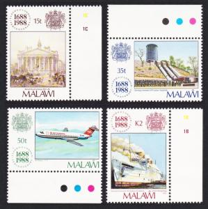 Malawi 300th Anniversary of Lloyds 4v with Long margins SG#805-808