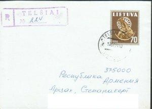 LITHUANIA 1991 REGISTERED COVER TO ARTSAKH KARABAKH ARMENIA R2020442