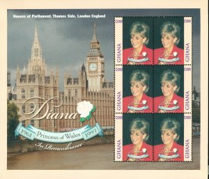 Ghana MNH S/S 2074a Princess Diana At House Of Parliament 6 Stamps SCV 10.50