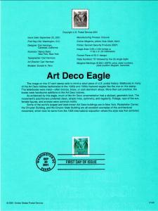 US SP1386A Art Deco Eagle Souvenir Page FDC