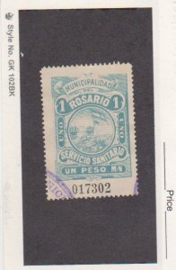 Rosario Argentina 1912 1P Light Blue Hooker Prostitute Tax Stamp Used Oval Canc
