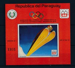 [35600] Paraguay 1975 Olympic games Innsbruck Ski jumping Souvenir Sheet MNH