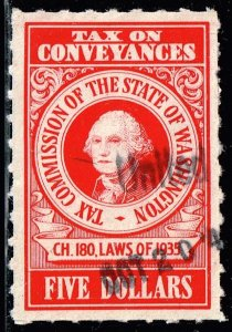 US TAX STAMP STATE OF WASHINGTON  $5 RED CONVEYANCES TAX PAID STAMP