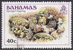 Bahamas # 474 used ~ 40c Sponge Clipping