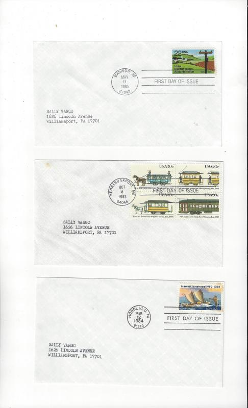 US FDC #2059-62, #2080, #2144  3 Covers