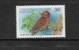 BIRD - CHRISTMAS ISLAND #203 HAWK OWL  MNH