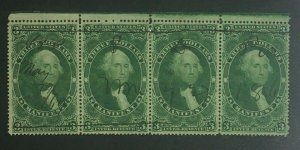 MOMEN: US STAMPS #R86c STRIP OF 4 REVENUE USED LOT #71801