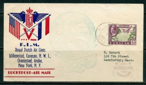 WILLEMSTAD CURACAO ROYAL DUTCH AIRLINES FLIGHT COVER TO NEW YORK