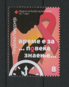 MACEDONIA-MNH** STAMP-CANCER-RED CROSS-2010.
