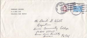 Caroline Islands Micronesia 2c Duperrey on 20c Four-Star Envelope 1985 Yap Ca...
