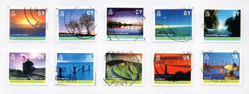 Guernsey Sc 742a-j 2001 Island Views stamp set used litho