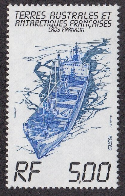 French Southern Antarctic Territory # 104, Freighter Lady Franklin, NH, 1/2 Cat.