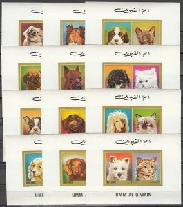 Umm Al Qiwain, Mi cat. 662-673 C. Cats & Dogs issue as Deluxe s/sheets. ^