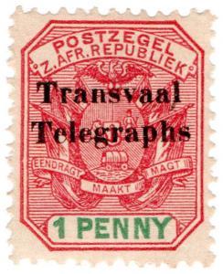 (I.B) Transvaal Telegraphs : 1d Overprint