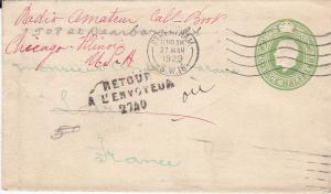 UK 1929 Envelope Sent to France, Returned to Sender in US