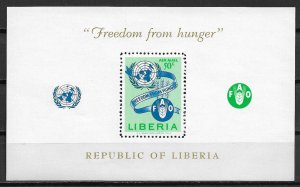1963 Liberia C150 Freedom from Hunger MNH S/S