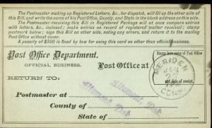 US REGISTRY BILL ALTAMONT, DAKOTA TERRITORY 1/20/86 TO MERIDIEN, CT 1/27 RARE