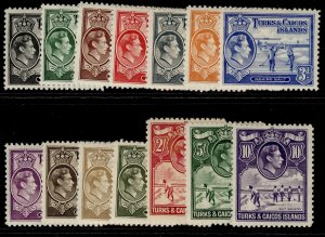 TURKS & CAICOS ISLANDS GVI SG194-205, complete set, VLH MINT. Cat £130.