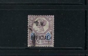GREAT BRITAIN SCOTT #O47 1901-02 OFFICE OF WORKS- VICTORIA 5P (LILAC/ULTRA) USED