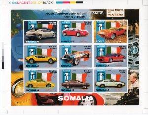 Somalia 1999 DE TOMASO CARS Sheetlet (9) UNIQUE FINAL PROOF CHROMALIN !!!