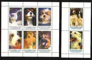 Touva, 21-28 Russian Local. Various Dogs sheet of 6 and 2.