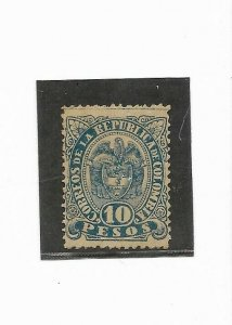 COLOMBIA year 1892 1899 Scott 159 a Michel 116 blue 10 pesos Thin Paper MH