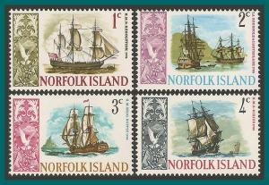Norfolk Island 1967 Ships (series 1), MNH  #100-103,SG77-SG80